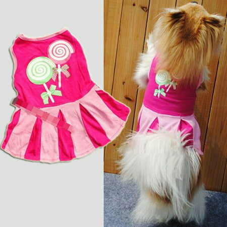 Candy Pattern Puppy Dog Doggie Apparel Clothes Hoodies Skirt Dress