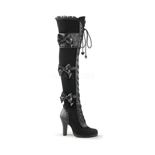 Women's Demonia Glam 300 Goth Lolita Over-the-Knee Boot by PleaserUSA