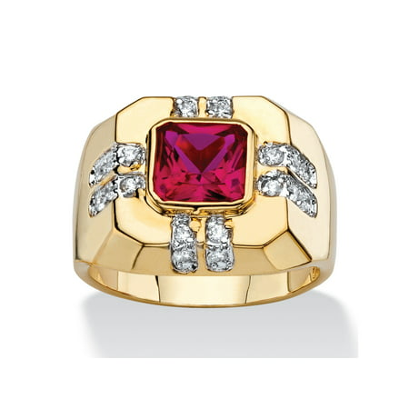 Men's 2.12 TCW Square-Cut Simulated Ruby and Cubic Zirconia Octagon Ring 14k - Square Cut Ruby