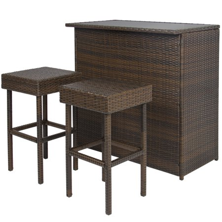 Best Choice Products Wicker 3-Piece Outdoor Bar Set ()