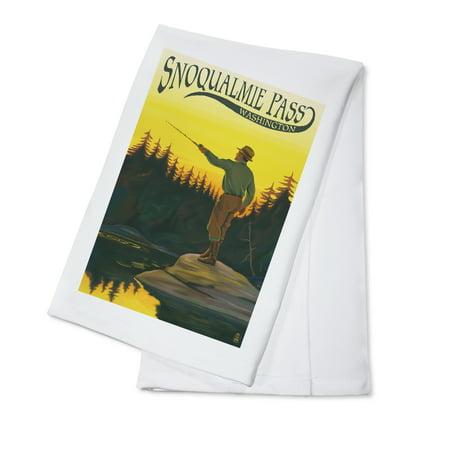 Snoqualmie Pass  Washington   Fisherman Casting    Lp Original Poster  100  Cotton Kitchen Towel