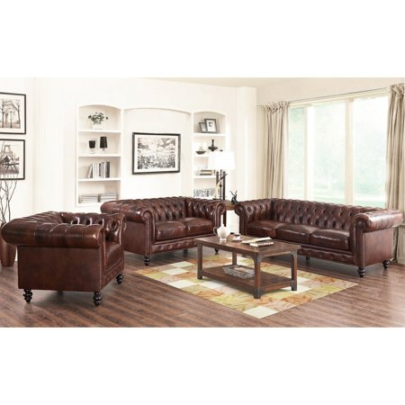 Abbyson Jayce Chesterfield 3 Piece Leather Sofa Set