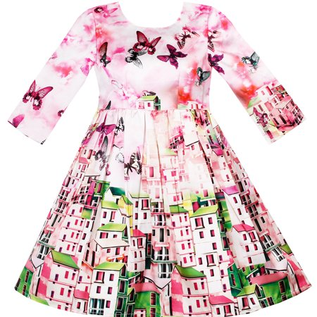 Sunny Fashion Girls Dress Satin Silk Butterfly City Building View Pink Size 4-10