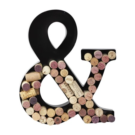 Metal Letter Wine Cork Savers Monogram w/ Free Wall Mount Kit, A-Z (&)