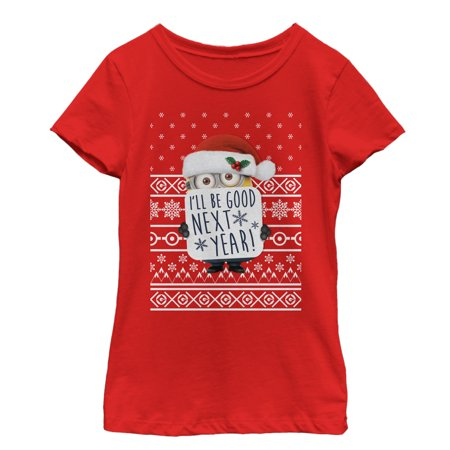 Despicable Me Girls' Christmas Good Minion T-Shirt