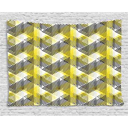 Yellow and White Tapestry, Geometric Pattern with Stripes Triangles Abstract Shapes 80s Style, Wall Hanging for Bedroom Living Room Dorm Decor, 80W X 60L Inches, Yellow Black White, by Ambesonne](80s Room Decor)