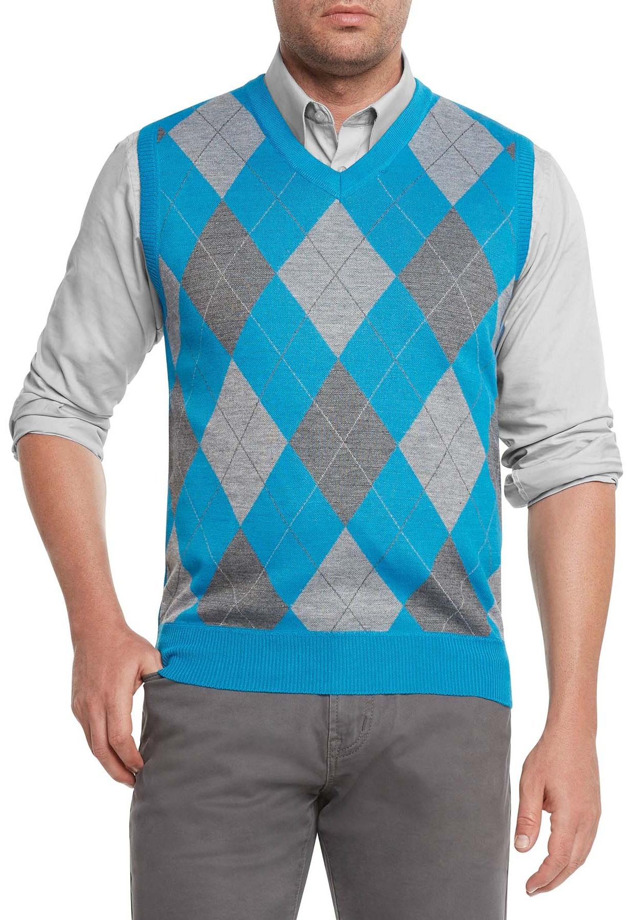 True Rock Men's Athletic Cut Argyle V-Neck Sweater Vest