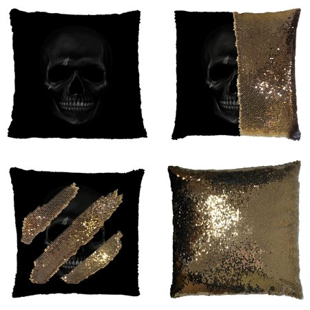 GCKG Cool And Horror Design Dark Skul Reversible Mermaid Sequin Pillow Case Home Decor Cushion Cover 16x16 inches (Horror Home Decor)