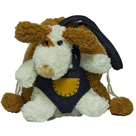 - Fluffy Drawstring Animal Carrier Purse with Removable Plush Toy