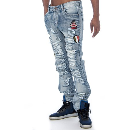 Crown Jeans (Men's Distressed Patched Relaxed Slim Denim Jeans 9)