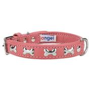 Angel Rotterdam Bones Bubblegum Pink Leather Dog Collar