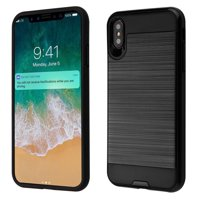 """Kaleidio Case For Apple iPhone XS Max (6.5"""") [Brushed Metal Texture] Slim Fit Hybrid Armor [Shockproof] Protective TPU Lightweight 2-Piece Cover w/ Overbrawn Prying Tool [Black/Black]"""