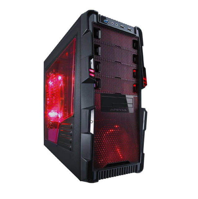 Apevia X-HERMES-RD X-hermes No Power Supply Atx Mid Tower [black/red]