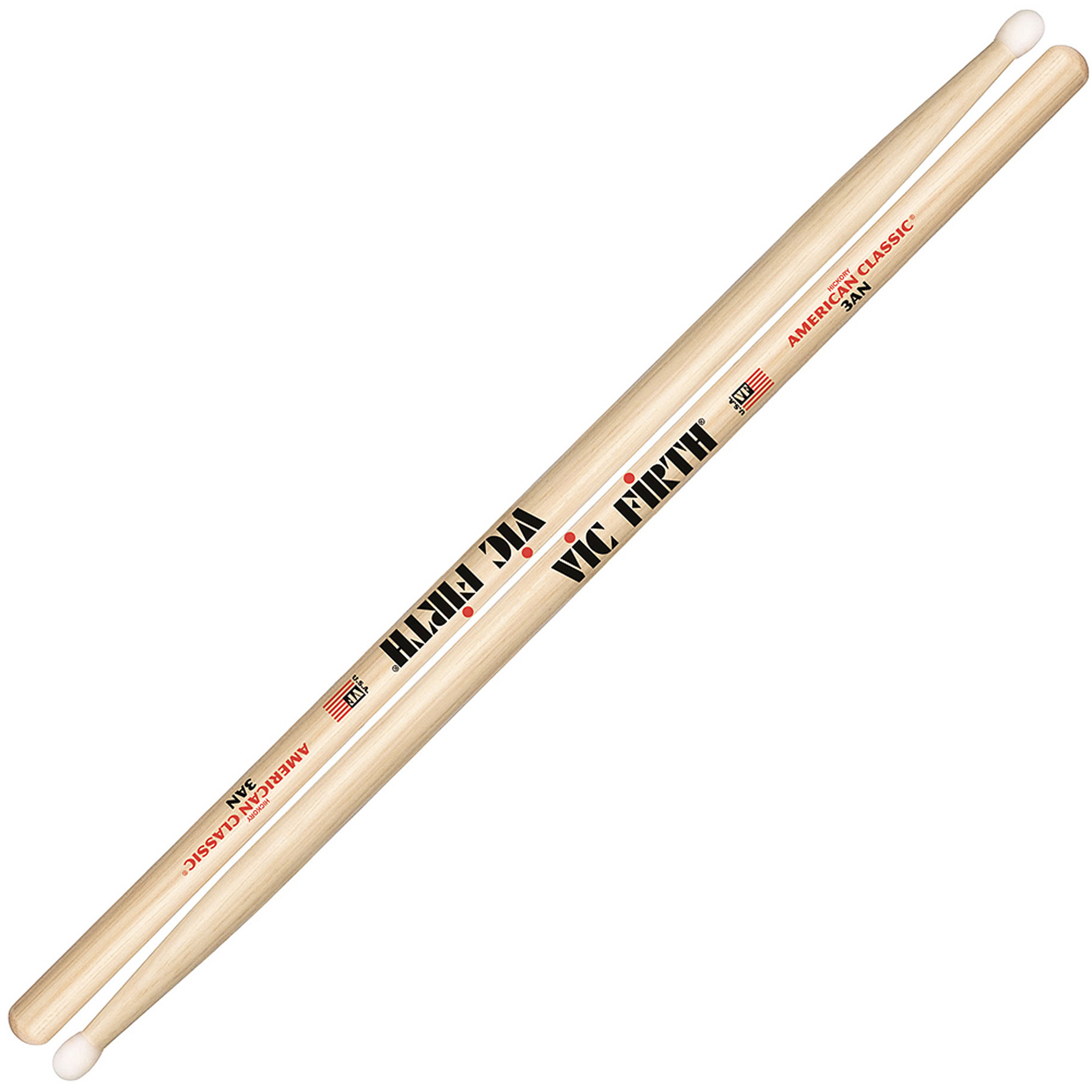 Vic Firth American Classic 3A Nylon Tip Hickory Drumsticks by Vic Firth