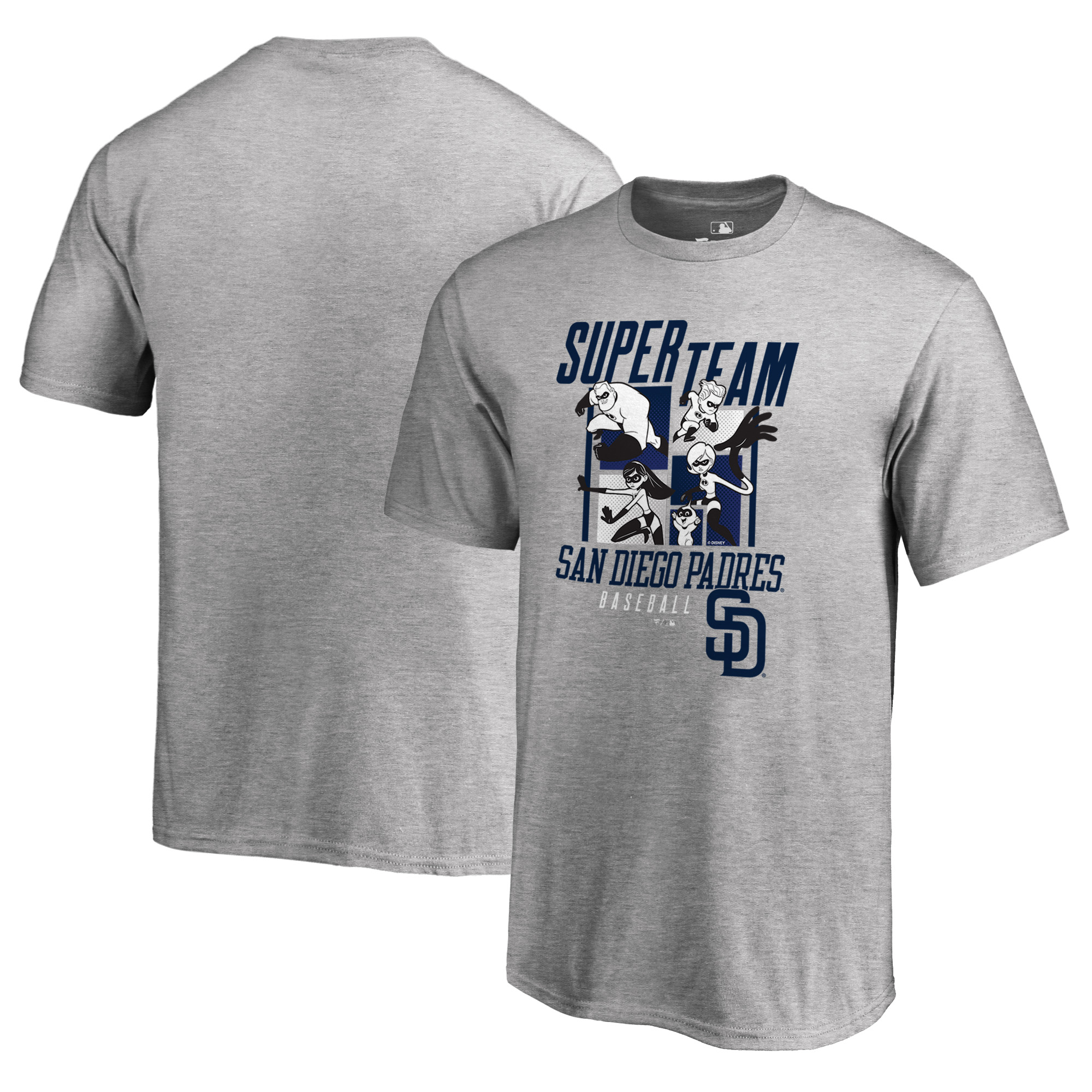 San Diego Padres Fanatics Branded Youth Disney Pixar Incredibles Super Team T-Shirt - Heathered Gray
