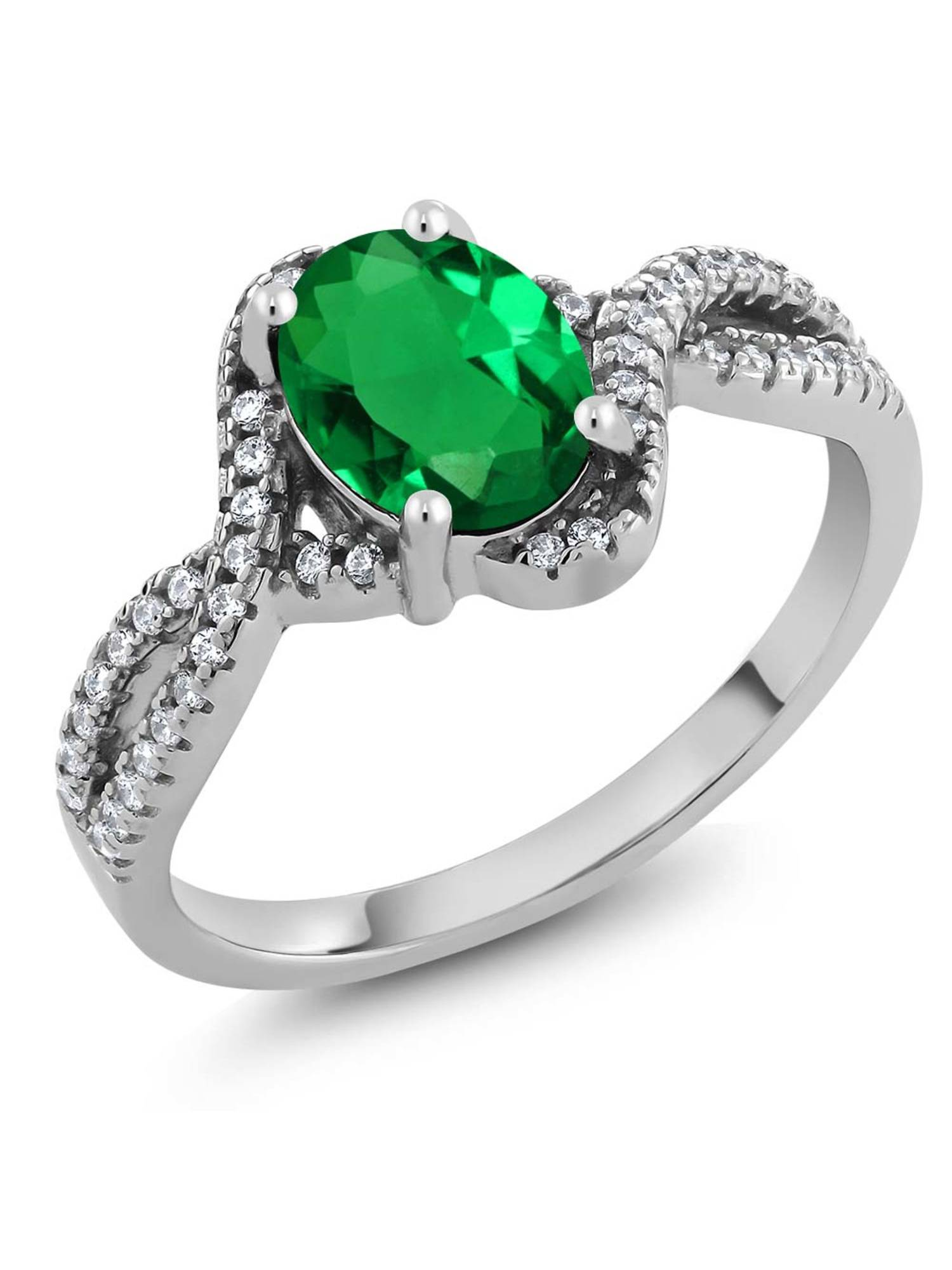1.73 Ct Oval 8x6mm Green Nano Emerald 925 Sterling Silver Ring