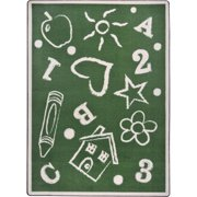 Joy Carpets 1736B-03 Playful Patterns Kids Art Rectangle Childrens Area Rugs, 03 Green - 3 ft. 10 in. x 5 ft. 4 in.