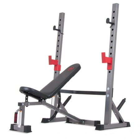 Body Champ BCB5280 Two Piece Set Olympic Weight Bench with Squat
