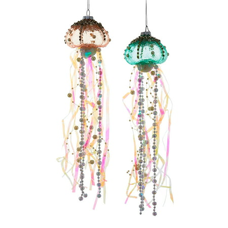 Kurt Adler Coastal Beaded Jellyfish Glass Ribbons Holiday Ornaments Set of 2