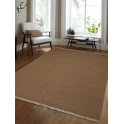 Rugsotic Carpets Hand Woven Flat Weave Kilim Wool 3'x5' Area Rug Solid Cream D00111
