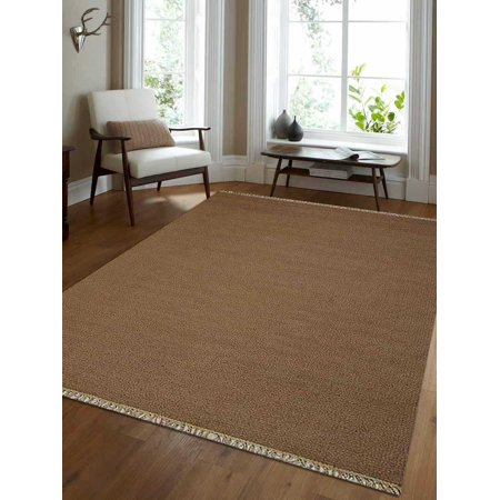 Rugsotic Carpets Hand Woven Flat Weave Kilim Wool 3'x5' Area Rug Solid Cream
