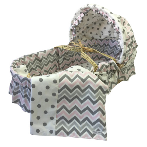 Wendy Anne Moses Basket With Chevron Bedding And Canopy