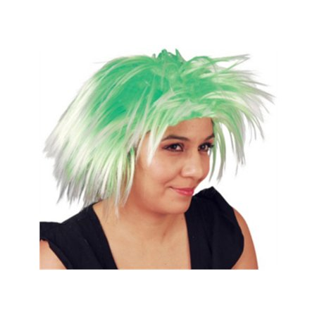Green Costume Wigs (Green Mid-Length Spiked Punk Mod Pixie St Patricks Day Costume)