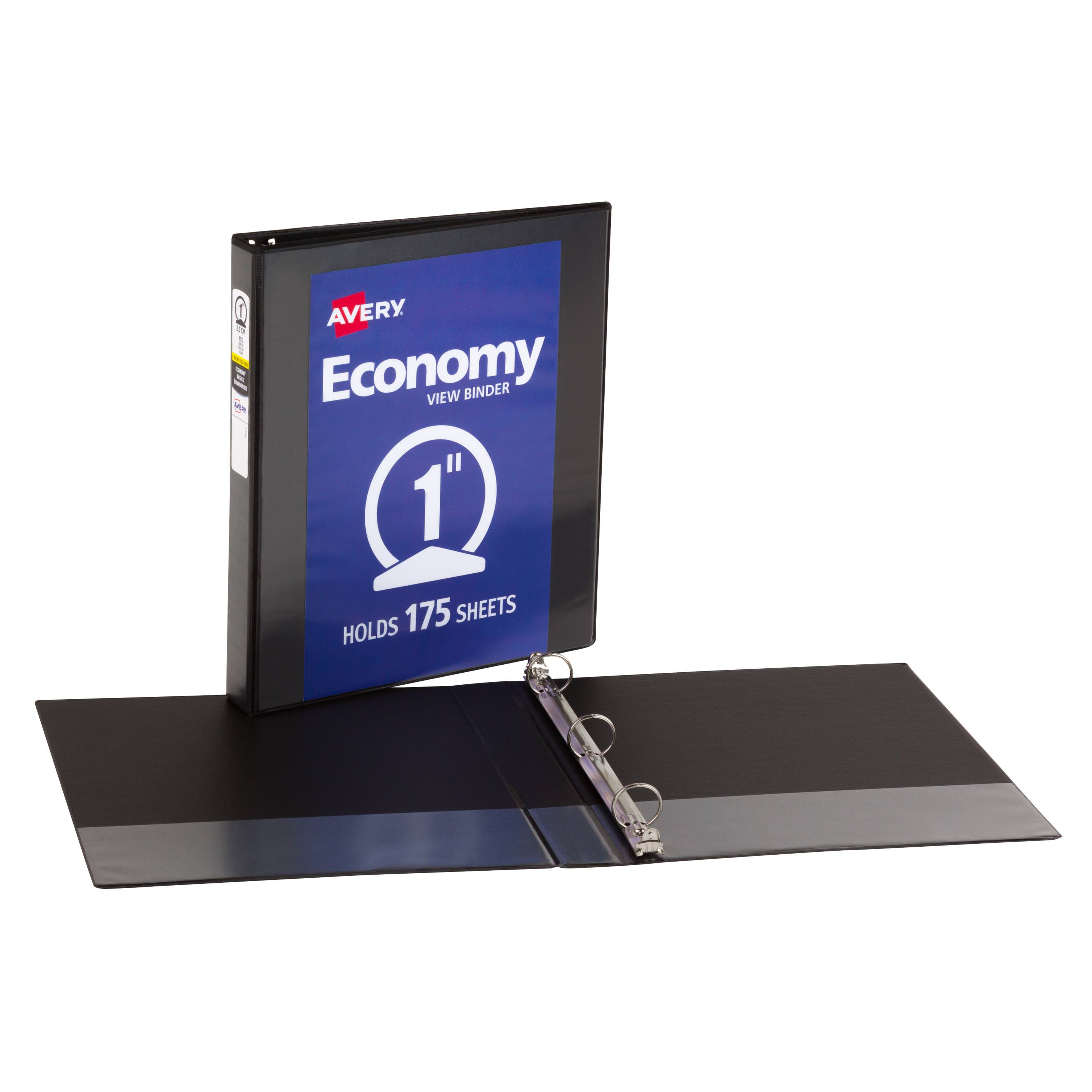 "Avery® Economy View Binder, 1"" Round Rings, 175-Sheet Capacity, 6 Binders, Black (05802)"