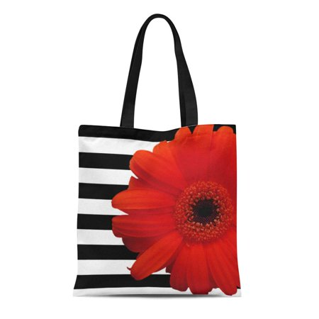 ASHLEIGH Canvas Tote Bag Daisies Red Daisy Flower Black White Flora Stripe Floral Reusable Handbag Shoulder Grocery Shopping Bags