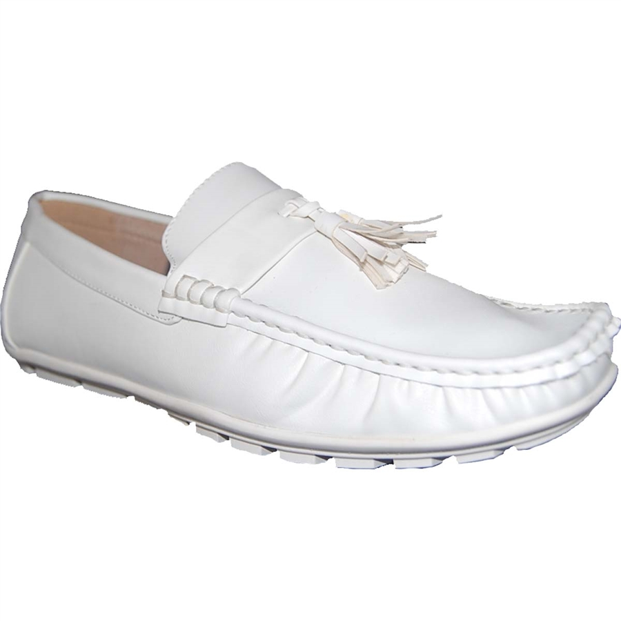 American Shoe Factory White Party Leather Lined Upper Loafers, Men