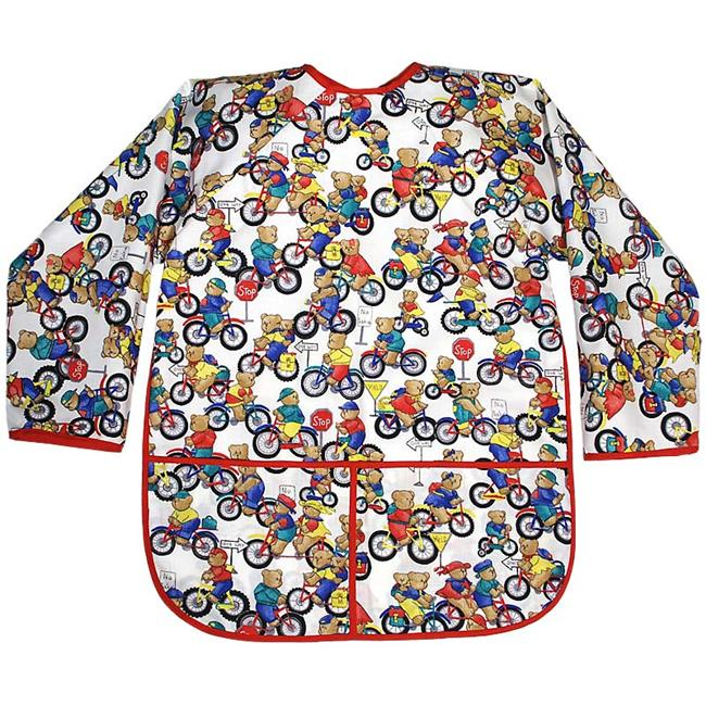 Raindrops 7798BE Raindrops Kindergarten Art Smock-Bears on Bike Boy Print