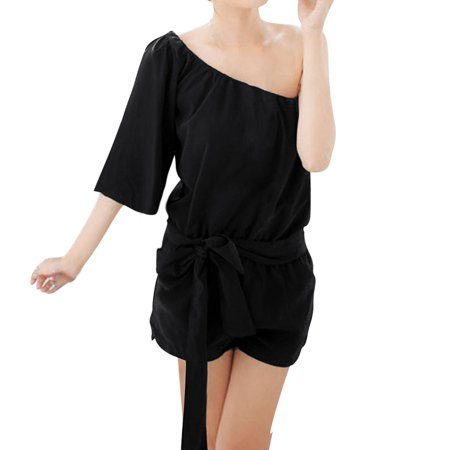 Allegra K Women's Elastic Waist Summer Playsuit Black (Size XL / 16)