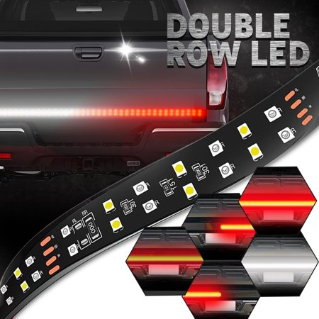 TSV 60 Inch Double Row LED Truck Tailgate Light Bar Strip Red/White Reverse Stop Turn Signal Running for SUV RV