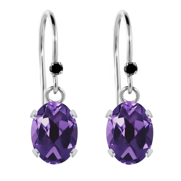 1.52 Ct Oval Purple Amethyst Black Diamond 925 Sterling Silver Earrings