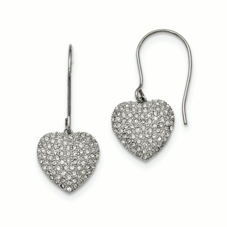 - Stainless Steel Polished w/ Preciosa Crystal Heart Dangle Earrings