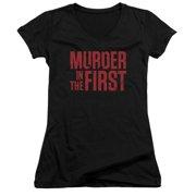 Murder In The Frist Stacked Logo Juniors V-Neck Shirt