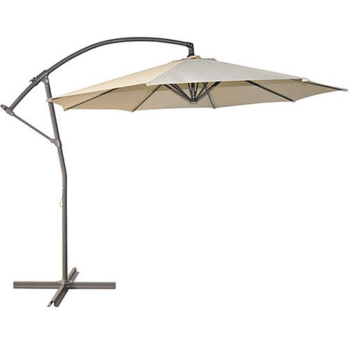 Mainstays 10\' Push-Up Off-Set Umbrella, Tan - Walmart.com
