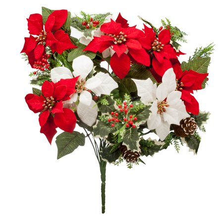 "OakRidge Holiday Poinsettia & Pinecone Bush – Artificial Floral Indoor/Outdoor Home Décor – 21"" High Overall ()"
