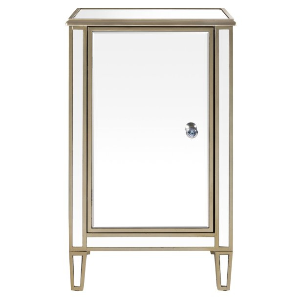 Mirrored Wine Cabinet With Gold Trim, Mirrored Wine Cabinet