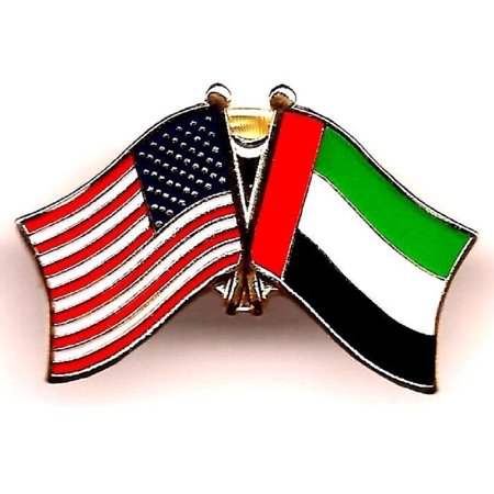 PACK of 3 United Arab Emirates & US Crossed Double Flag Lapel Pins, Emirati & American Friendship Pin Badge