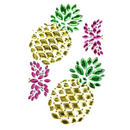 Tropical Pineapple Rhinestone Gem Art Stickers, 4-Piece ()