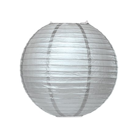 Platinum Brushed Shade (Premium Paper Lantern, Lamp Shade (24-Inch, Parallel Style Ribbed, Platinum Silver))