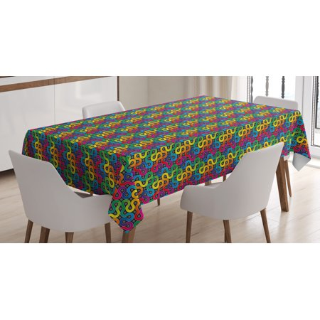 Rectangular Twist (Abstract Tablecloth, Rainbow Colored Twisted Lines Around Dots Surreal Expressionist Illustration Print, Rectangular Table Cover for Dining Room Kitchen, 52 X 70 Inches, Multicolor, by Ambesonne )