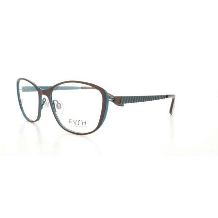 5ee9faf560 FYSH Eyeglasses F 3497 400 Brown Aqua 52MM - Walmart.com