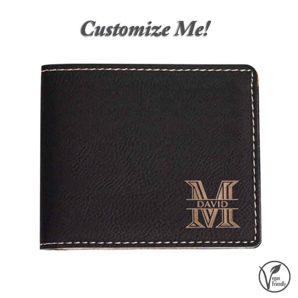 Personalized Llamas Genuine Leather Mens Bi-fold Wallet