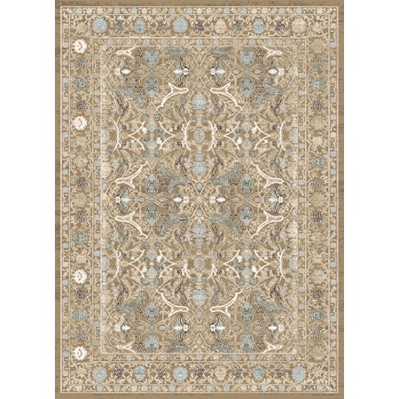 Vitaly Quinn Area Rugs - 3564 Traditional Oriental Beige Circles Branches Leaves Blossoms Rug