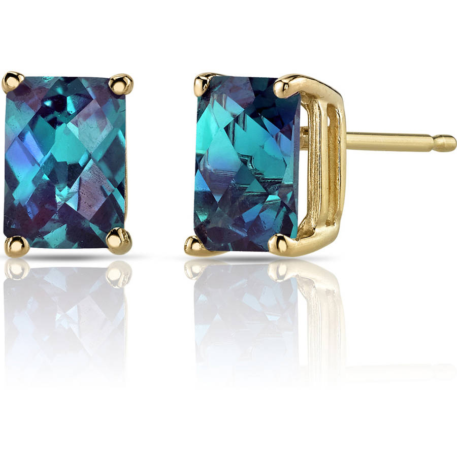 Oravo 2.50 Carat T.G.W. Radiant-Cut Created Alexandrite 14kt Yellow Gold Stud Earrings