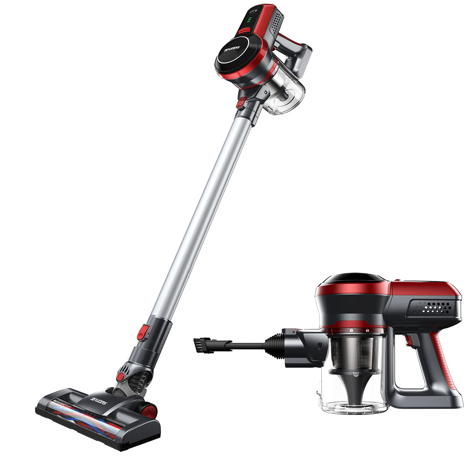 Cordless Vacuum Cleaner, BEAUDENS 2-in-1 Stick and Handheld Vacuum Cleaner, 9Kpa High Suction