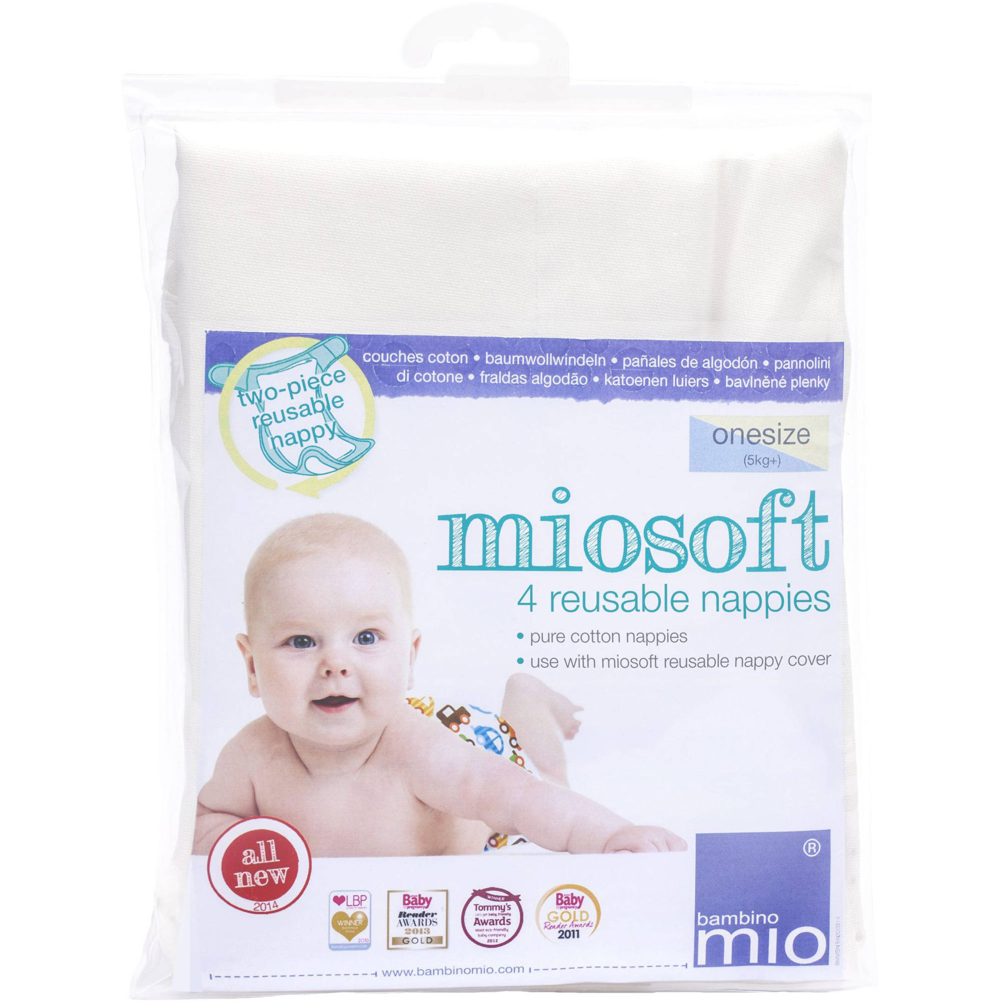Bambino Mio Miosoft Reusable Diapers, One Size, 4 count