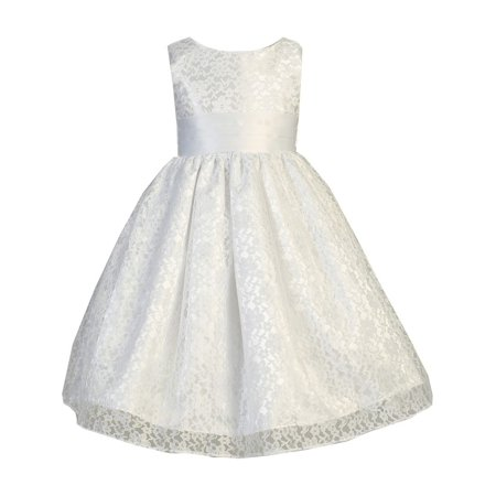 Little Girls White Raschel Lace Overlay Satin Special Occasion Dress](Satin Dress With Lace Overlay)